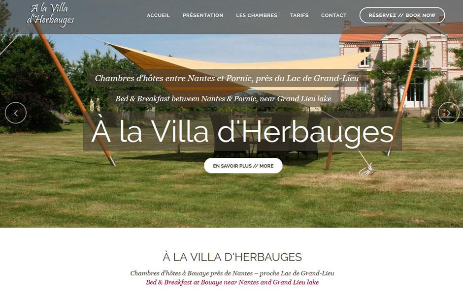 Site internet antiopa Villa d'Herbauges : chambres d'hôtes à Bouaye près du Lac de Grand-Lieu, entre Nantes et Pornic