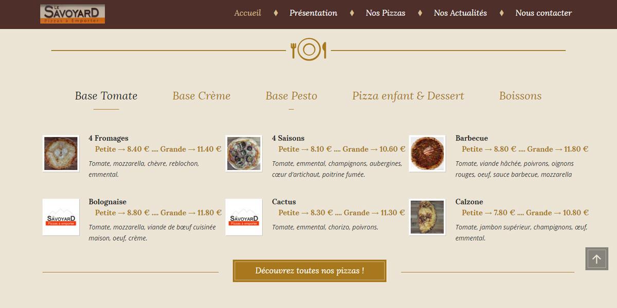 Pizzas à emporter, pizzeria le Savoyard à Bouaye proche Nantes. Site internet par Antiopa EURL