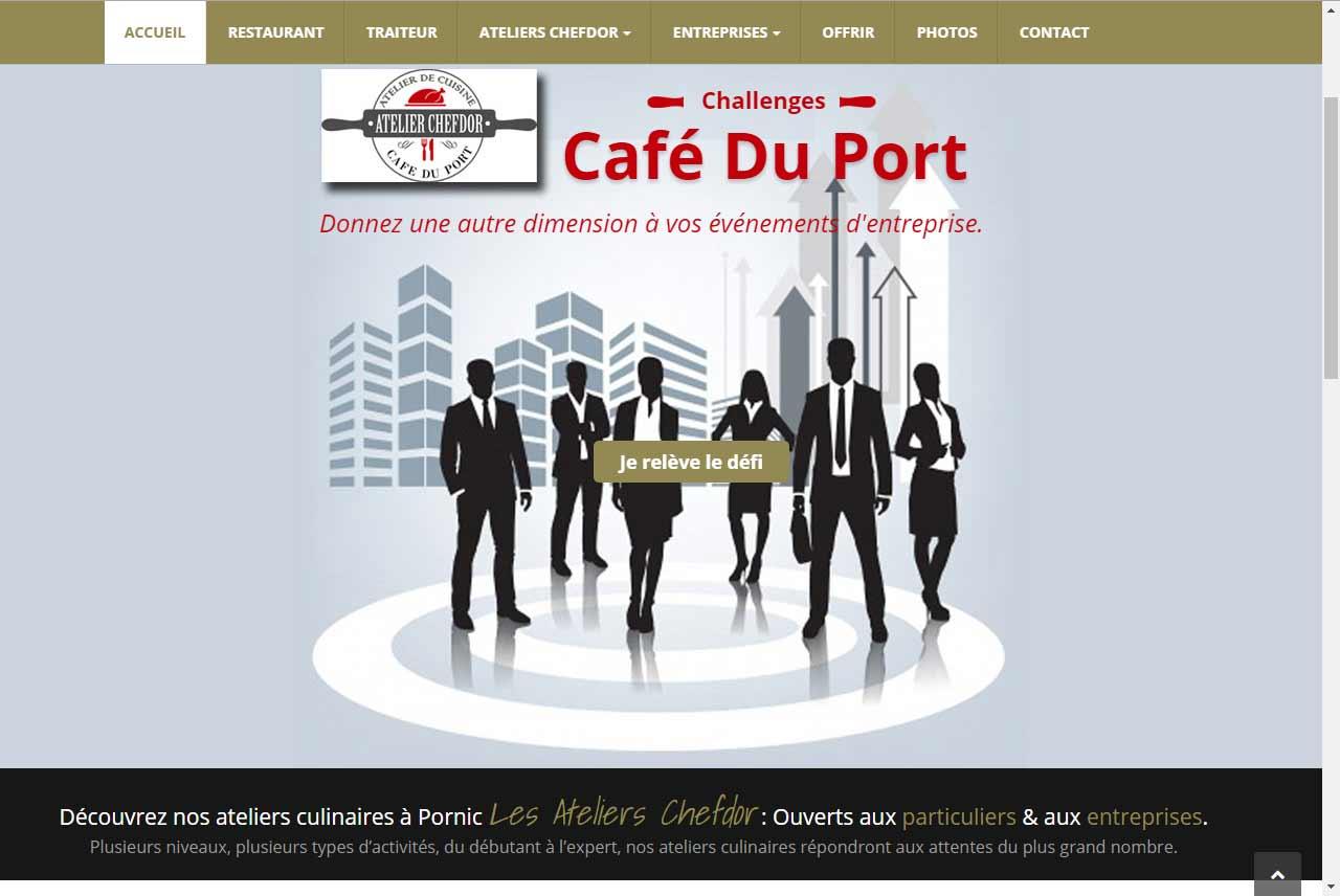 Restaurant le café du port à pornic, création par antiopa, SARL création de sites web